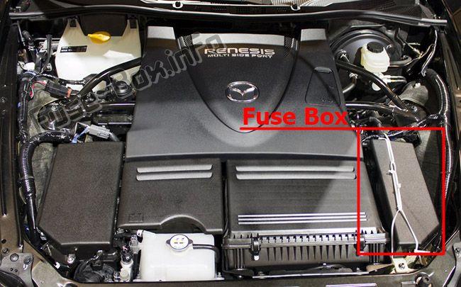 Расположение предохранителей в моторном отсеке: Mazda RX-8 (2004-2011 гг.)