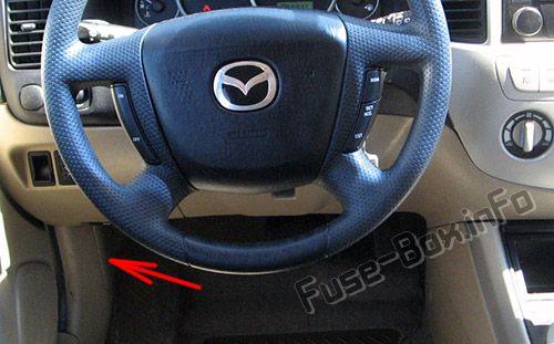 Расположение предохранителей в салоне: Mazda Tribute (2001, 2002, 2003, 2004)