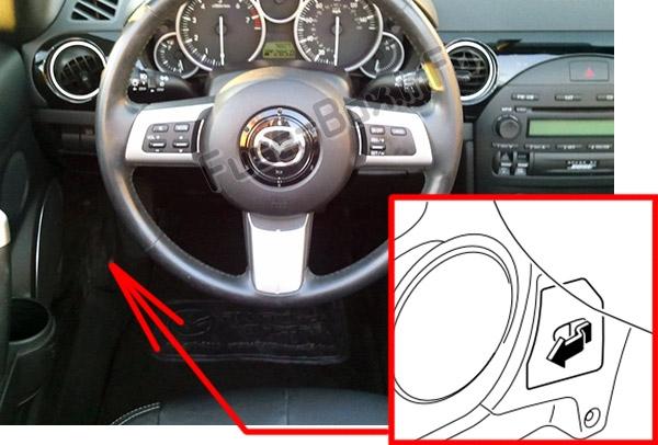 Расположение предохранителей в салоне: Mazda MX-5 Miata (NC; 2006-2015)