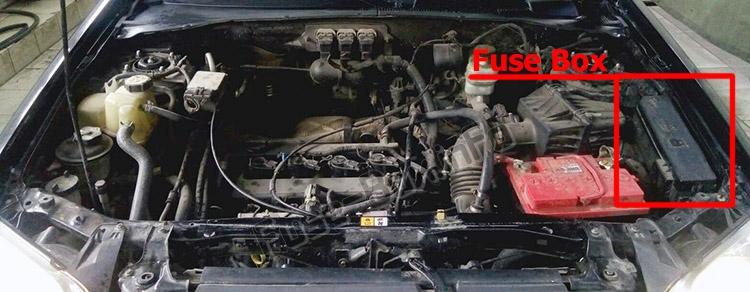 Расположение предохранителей в моторном отсеке: Mazda Tribute 2001-2007 гг.