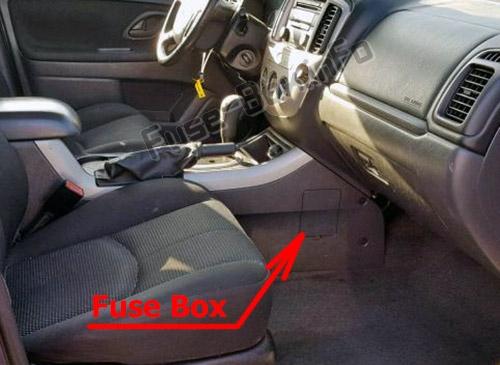 Расположение предохранителей в салоне: Mazda Tribute 2005-2007 гг.