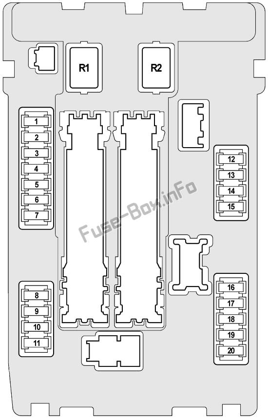 Схема блока предохранителей под капотом №1: Infiniti FX35, FX50, QX70 (2008, 2009, 2010, 2011, 2012, 2013, 2014, 2015, 2016, 2017)