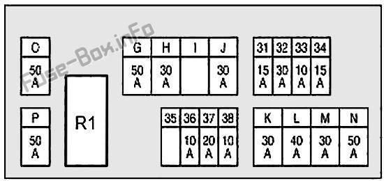 Схема блока предохранителей под капотом # 2: Infiniti FX35, FX50, QX70 (2008, 2009, 2010, 2011, 2012, 2013, 2014, 2015, 2016, 2017)