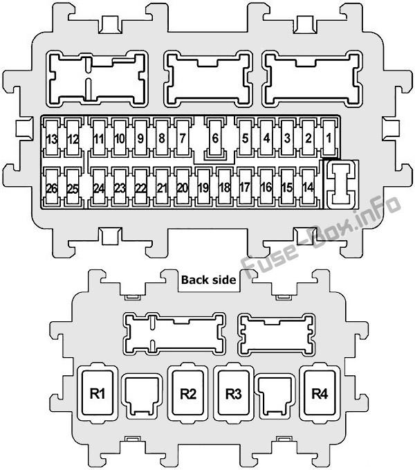 Схема блока предохранителей на панели приборов: Infiniti FX35, FX50, QX70 (2008, 2009, 2010, 2011, 2012, 2013, 2014, 2015, 2016, 2017)