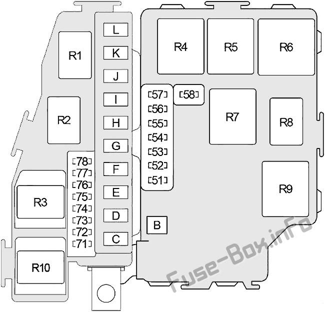 Схема блока предохранителей под капотом: Infiniti Q45 (2001, 2002, 2003, 2004, 2005, 2006)
