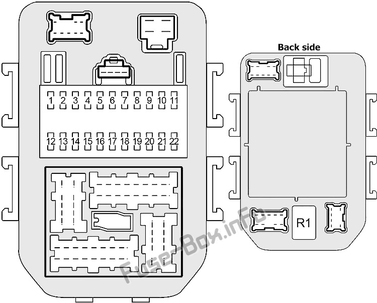 Схема внутреннего блока предохранителей # 1: Infiniti Q45 (2001, 2002, 2003, 2004, 2005, 2006)