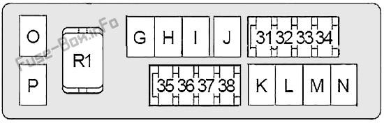 Схема блока предохранителей под капотом # 2: Infiniti Q70 (2013, 2014, 2015, 2016, 2017, 2018, 2019)