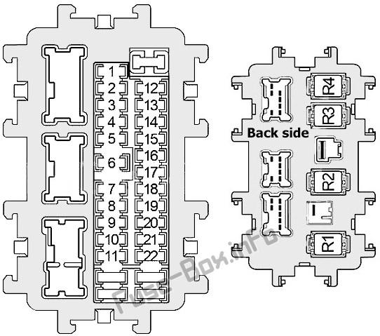 Схема блока предохранителей в панели приборов: Infiniti Q70 (2013, 2014, 2015, 2016, 2017, 2018, 2019)