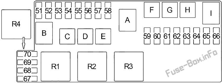 Схема блока предохранителей под капотом: Infiniti QX4 (1997, 1998, 1999, 2000, 2001, 2002, 2003)