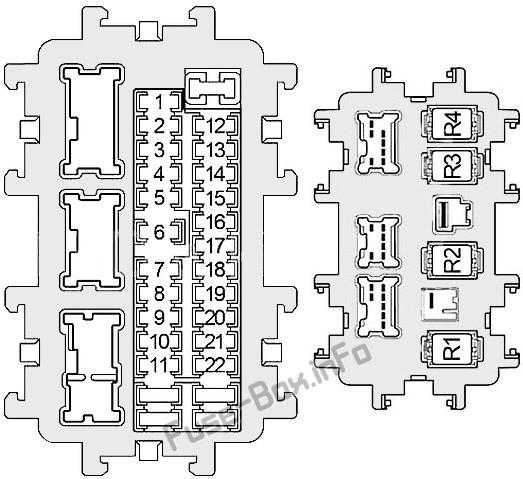 Схема блока предохранителей в панели приборов: Infiniti QX56 / QX80 (2010, 2011, 2012, 2013, 2014, 2015, 2016, 2017)