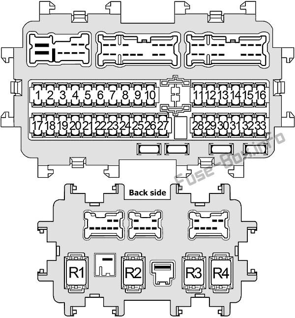 Схема блока предохранителей в панели приборов: Infiniti JX35, QX60 (2012, 2013, 2014, 2015, 2016, 2017)