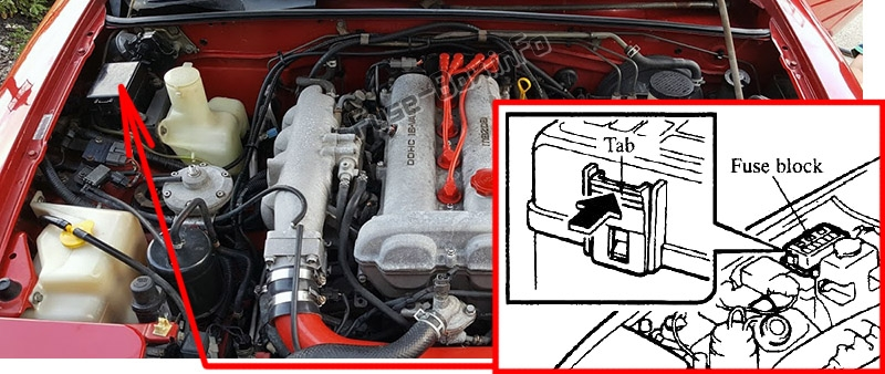 Расположение предохранителей в моторном отсеке: Mazda MX-5 Miata (NA; 1989-1997)