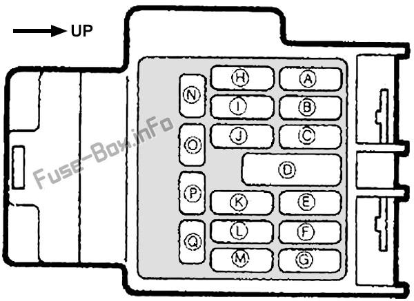 Схема блока предохранителей в панели приборов: Mazda MX-5 Miata (NA; 1989, 1990, 1991, 1992, 1993, 1994, 1995, 1996, 1997)
