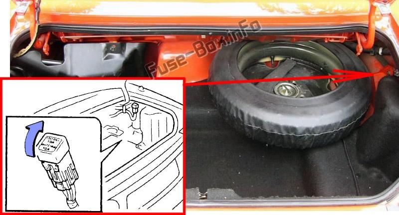 Расположение предохранителей в багажнике: Mazda MX-5 Miata (NA; 1989-1997)